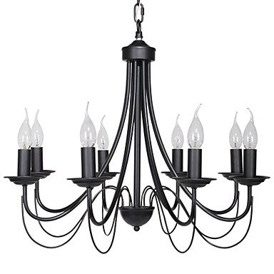 60w E14 8 Light Black Iron Chandelier In Candle Feature