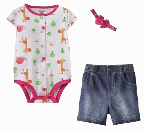Giraffes & Elephants Onesie, Shorts, And Bow Bundle! (Size - 3 Months) front-789508