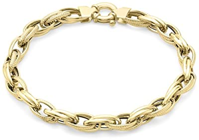 "Carissima 9ct Yellow Gold Diamond Cut Double Link Bracelet 22.5cm/9"""