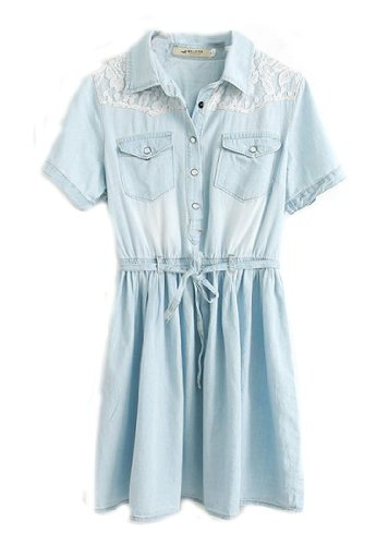 Wantdo Women'S Conjoined Washed Denim Dress(As Picture,Large)