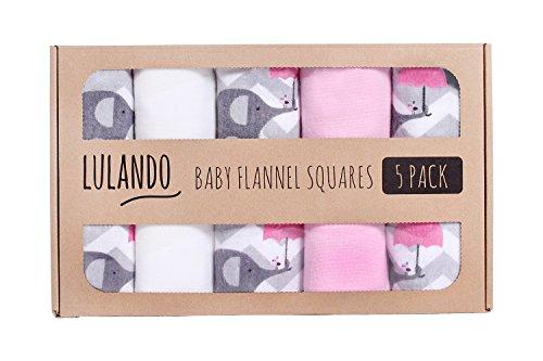 LULANDO Stoffwindeln und Moltontücher 70x80cm (5er Set), Elefanten Pink