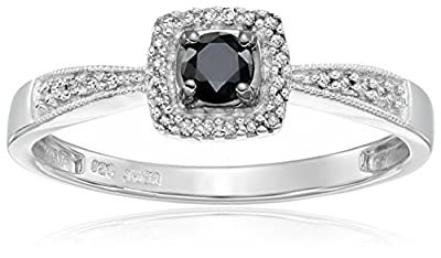 Sterling Silver Black and White Diamond Cushion Promise Ring (1/4 cttw, I-J Color, I3 Clarity)