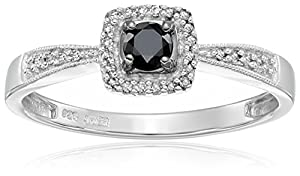 Sterling Silver Black and White Diamond Square Top Promise Ring (1/4 cttw)Size 6