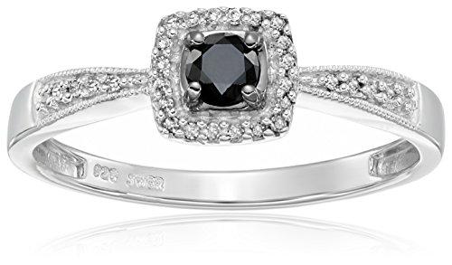 Carbonado ♦♦♦ Sterling Silver Black and White Diamond Square Top Promise Ri
