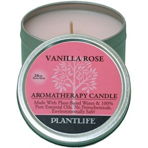 Vanilla Rose Aromatherapy Candle- Made with 100% pure essential oils - 3oz tin