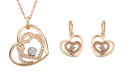 Rose Gold Plated CZ Swirl Heart Pendant Necklace And Earrings Jewelry Set-SN3657RT