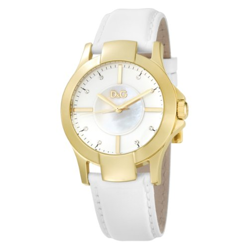 D & G Ladies Texas Quartz Watch DW0542 with Mop Dial, Gold Colour Ip Case and White Leather Strap