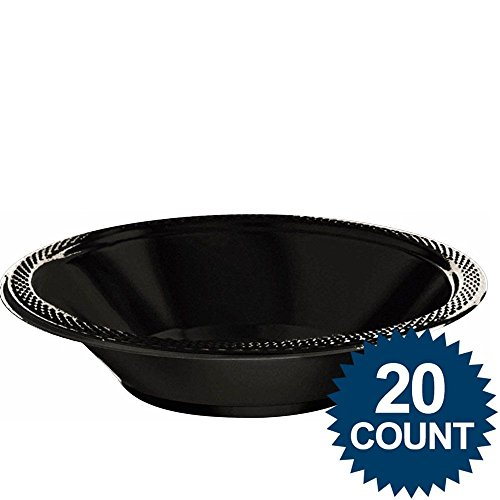 20 Ct 12 Oz Jet Black Plastic Bowls
