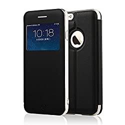XY013 iPhone 6 Case, [Starry Series] [View Window] Folio Flip PU Leather Case [Simple Design], Case [Stand Feature] with Magnetic Closure for iPhone 6--4.7 inch (Black)