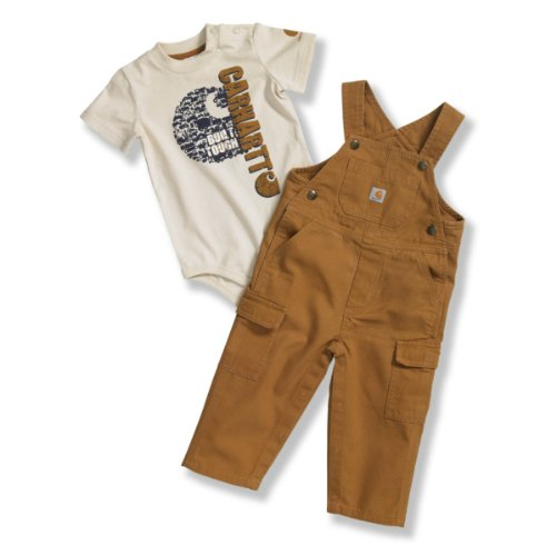 Carhartt Baby-Boys Infant Washed Canvas Bib Overall Set, Carhartt Brown, 6 Months front-869552