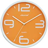 "JustNile Vibrant Colored Round 12"" Wall Clock - Orange"