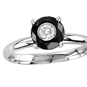 14kt White Gold Round Black and White Diamond Solitaire Ring 1.25ct TW