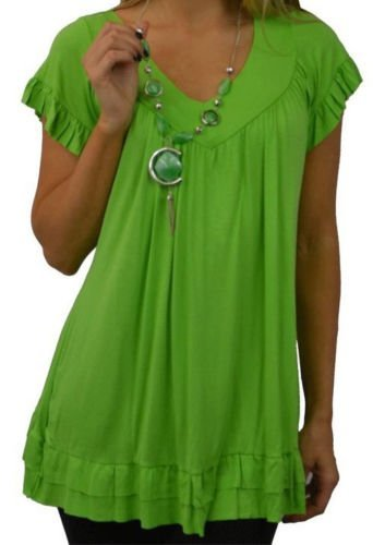 misstrendyclothing Women's Plus Frill Necklace Gypsy V Neck Tunic Top