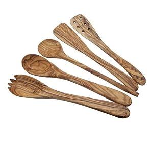 Naturally Med - Conjunto de utensilios de cocina de madera de olivo, 5 unidades, 30 cm   Más información y revisión del cliente