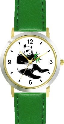 buy Eating Bamboo Giant Panda Or Panda Bear Animal - Watchbuddy® Deluxe Two-Tone Theme Watch - Arabic Numbers - Green Leather Strap-Women'S Size-Small