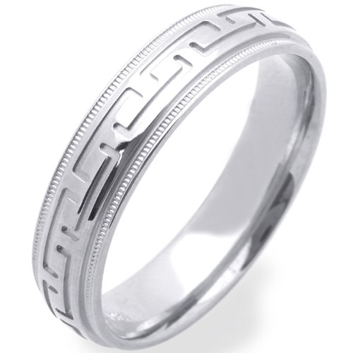 14K White Gold Wedding Bands For Men 5MM Greek Sign Ring , Size 9.5
