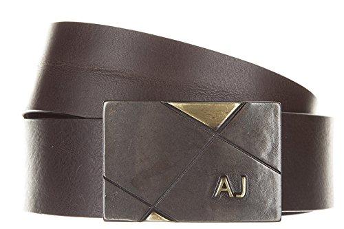 Armani Jeans cintura uomo vera pelle nuova originale placca marrone EU 90 931010 6A800 06153