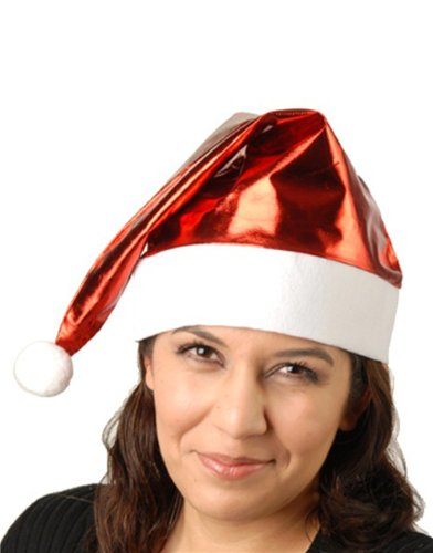 Adult Size Red Metallic Fancy Christmas Santa Hat - 1