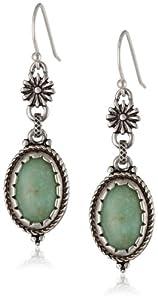Lucky Brand Silver-Tone Green Double Drop Earrings