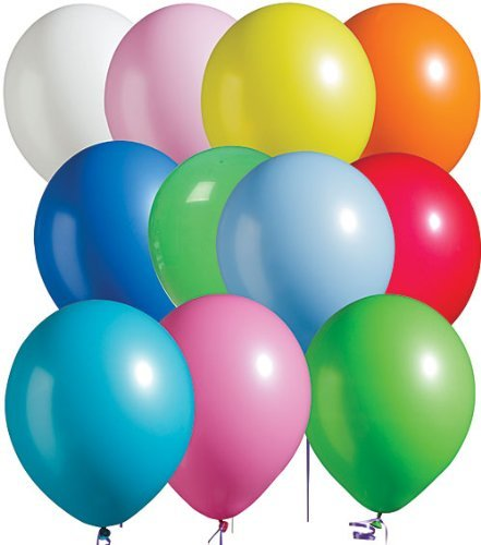 OrangeTag Assorted Bright Tone Latex Balloons Package of 100