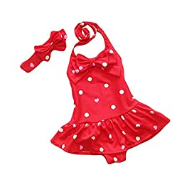 Baby Toddler One Piece Polka Dot Swimsuit Bathing Suit Swimwear 1-2Years Red