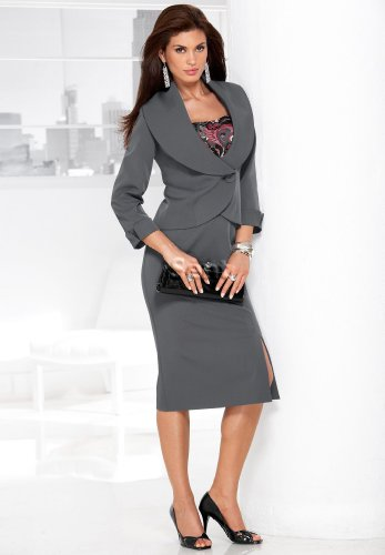 Shawl-Collar Skirt Suit
