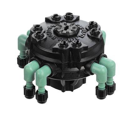 "Orbit Adjustable Flow 8-Port Drip Irrigation Manifold For 1/4"" Tube"