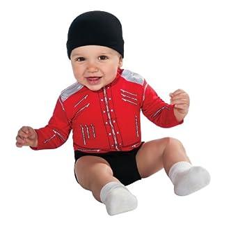 Michael Jackson Baby Beat-It Jacket Onesie Costume, Red, Newborn