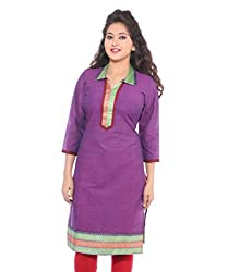 Lal Chhadi Women's 3/4 Sleeve South Cotton Purple Kurta