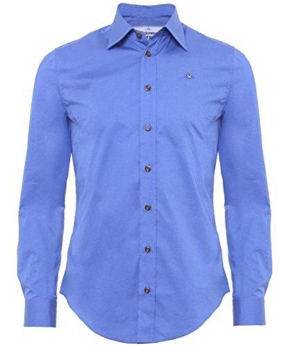 Vivienne Westwood Men s Long Sleeve Stretch Poplin Button Down Shirt, Blue, 46