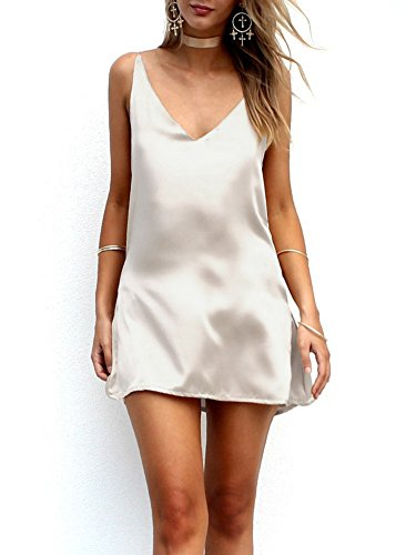 Simplee Apparel Women's Sexy Spaghetti Strap V Neck Casual Mini Slip Dress,Light Champagne,US(4-6)/Tag M