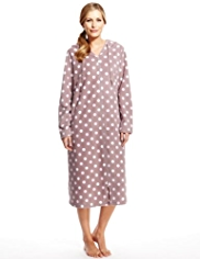 Hooded Zip Through Spotted Dressing Gown