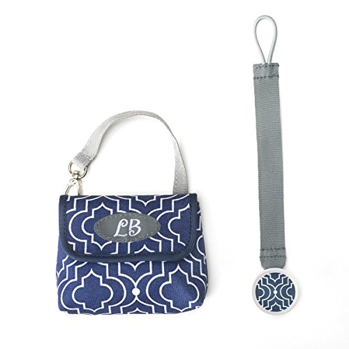 DEMDACO Lillybit Pacifier Pouch and Strap Set, Trellis