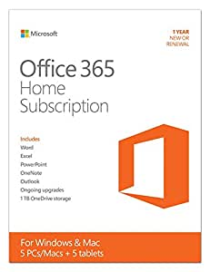 Microsoft Office 365 Home 1 Year | 5 PC or 5 Mac Key Card