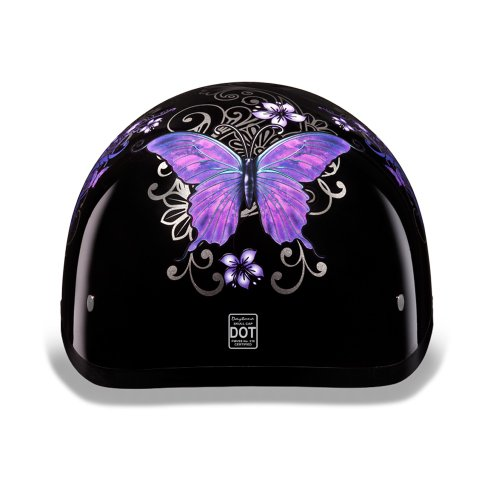 Daytona Helmets D.O.T. Approved Ladies Purple Butterfly Motorcycle Helmet 2xLarge