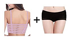 BYC Combo of Back Straps Padded Bralette (removable pads) + Boyshort Briefs Free Size Panties