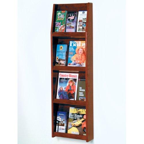 Wooden Mallet Slope 12-Pocket Literature Display, 4 By 3-Inch, Mahogany