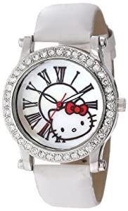 Hello Kitty Women's H3WL1043WT Silvertone Case White Leather Strap Roman Numeral Dial Watch