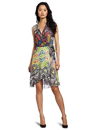 Nicole Miller Women's V-Neck Wrap Dress, White Multi, Medium
