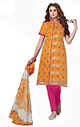 Fashion Queen Presents Dark Yellow Colored Unstitched Dress Material
