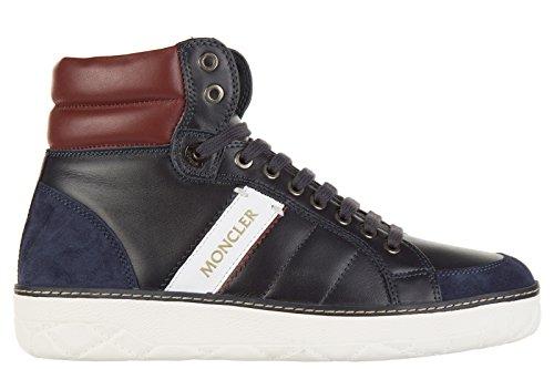 Moncler scarpe sneakers alte uomo in pelle nuove lenny blu EU 40 A2 09A 1011100