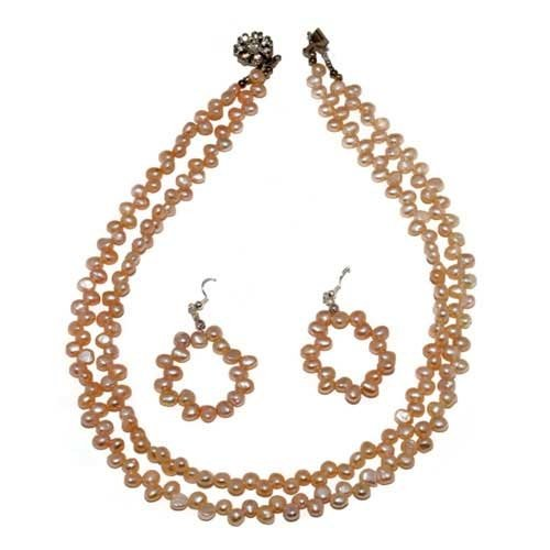 Fresh Water Puffy Pearl Necklace in Peach Color. A 18'' Long Double String