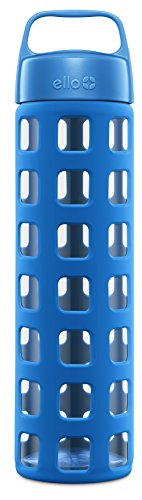 Ello Pure BPA-Free Glass Water Bottle with Lid, Blue Squares, 20 oz. (Glass Drinking Water Bottles compare prices)