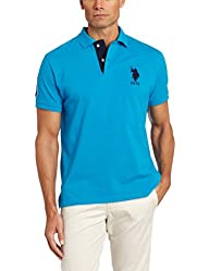 Men's Solid Polo Shirt with Contrast…