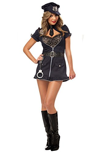 [Mememall Fashion Sexy Candy Cop Police Officer Adult Halloween Costume] (1940s Cop Costume)