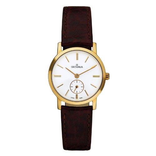 Grovana 3050,1562 - Reloj para mujer, correa de cuero color marrón