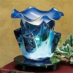 4.75 Inch Blue Marble Style Grain Tulip Electric Oil Burner Warmer
