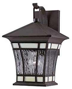 Westinghouse Lighting 6486500 One-Light Exterior Wall Lantern, Textured Rust Patina on Solid Brass and Steel with Water Glass and Tiffany Accents