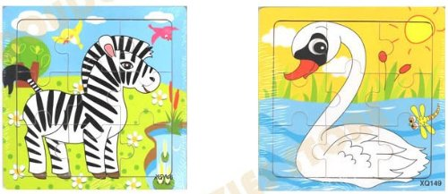 2pcs Wooden Cartoon Animal Jigsaw Puzzle Early Educational Toys Gifts (Zebra + Goose?