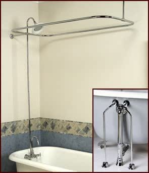 Complete brass add on shower combo set for clawfoot tub for Clawfoot tub and shower combo